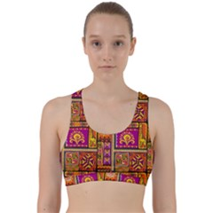Traditional Africa Border Wallpaper Pattern Colored 3 Back Weave Sports Bra