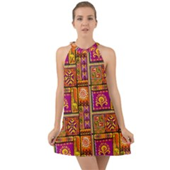 Traditional Africa Border Wallpaper Pattern Colored 3 Halter Tie Back Chiffon Dress