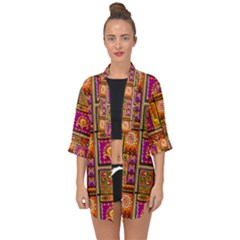 Traditional Africa Border Wallpaper Pattern Colored 3 Open Front Chiffon Kimono