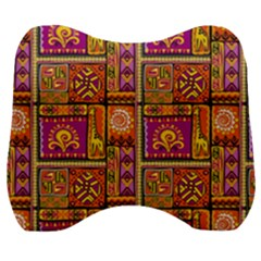 Traditional Africa Border Wallpaper Pattern Colored 3 Velour Head Support Cushion