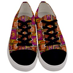 Traditional Africa Border Wallpaper Pattern Colored 3 Men s Low Top Canvas Sneakers