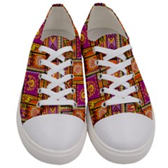Traditional Africa Border Wallpaper Pattern Colored 3 Women s Low Top Canvas Sneakers