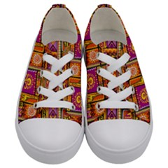 Traditional Africa Border Wallpaper Pattern Colored 3 Kids  Low Top Canvas Sneakers