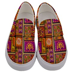 Traditional Africa Border Wallpaper Pattern Colored 3 Men s Canvas Slip Ons