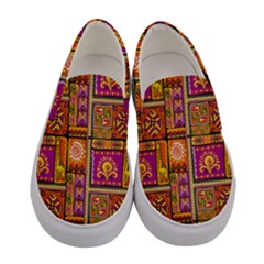 Traditional Africa Border Wallpaper Pattern Colored 3 Women s Canvas Slip Ons