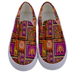Traditional Africa Border Wallpaper Pattern Colored 3 Kids  Canvas Slip Ons