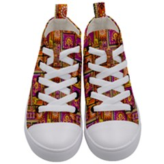 Traditional Africa Border Wallpaper Pattern Colored 3 Kid s Mid Top Canvas Sneakers