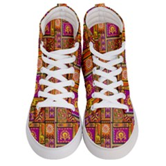 Traditional Africa Border Wallpaper Pattern Colored 3 Women s Hi Top Skate Sneakers