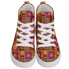 Traditional Africa Border Wallpaper Pattern Colored 3 Kid s Hi Top Skate Sneakers