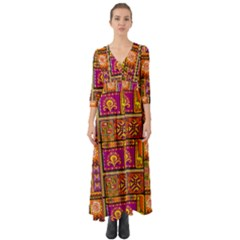 Traditional Africa Border Wallpaper Pattern Colored 3 Button Up Boho Maxi Dress