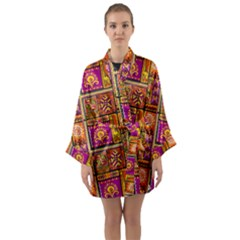 Traditional Africa Border Wallpaper Pattern Colored 3 Long Sleeve Kimono Robe