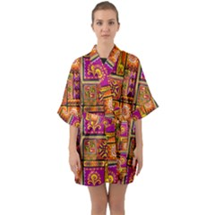 Traditional Africa Border Wallpaper Pattern Colored 3 Quarter Sleeve Kimono Robe by EDDArt