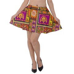 Traditional Africa Border Wallpaper Pattern Colored 3 Velvet Skater Skirt