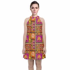 Traditional Africa Border Wallpaper Pattern Colored 3 Velvet Halter Neckline Dress