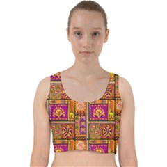 Traditional Africa Border Wallpaper Pattern Colored 3 Velvet Racer Back Crop Top