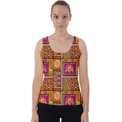 Traditional Africa Border Wallpaper Pattern Colored 3 Velvet Tank Top