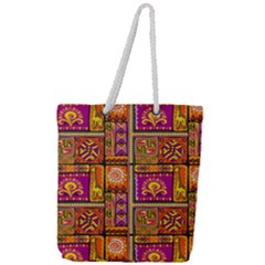 Traditional Africa Border Wallpaper Pattern Colored 3 Full Print Rope Handle Tote (large)
