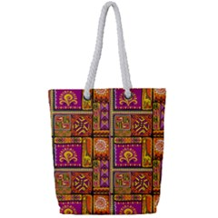 Traditional Africa Border Wallpaper Pattern Colored 3 Full Print Rope Handle Tote (small)