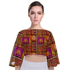 Traditional Africa Border Wallpaper Pattern Colored 3 Tie Back Butterfly Sleeve Chiffon Top