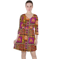 Traditional Africa Border Wallpaper Pattern Colored 3 Ruffle Dress