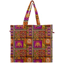 Traditional Africa Border Wallpaper Pattern Colored 3 Canvas Travel Bag