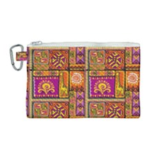 Traditional Africa Border Wallpaper Pattern Colored 3 Canvas Cosmetic Bag (medium)