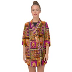Traditional Africa Border Wallpaper Pattern Colored 3 Half Sleeve Chiffon Kimono