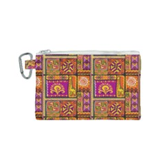 Traditional Africa Border Wallpaper Pattern Colored 3 Canvas Cosmetic Bag (small)