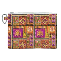 Traditional Africa Border Wallpaper Pattern Colored 3 Canvas Cosmetic Bag (xl)