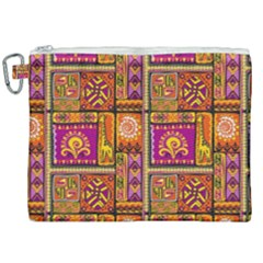 Traditional Africa Border Wallpaper Pattern Colored 3 Canvas Cosmetic Bag (xxl)