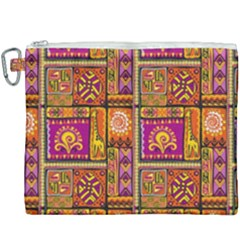 Traditional Africa Border Wallpaper Pattern Colored 3 Canvas Cosmetic Bag (xxxl)