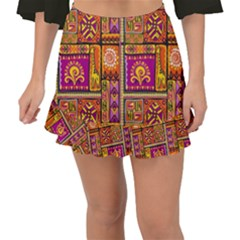 Traditional Africa Border Wallpaper Pattern Colored 3 Fishtail Mini Chiffon Skirt