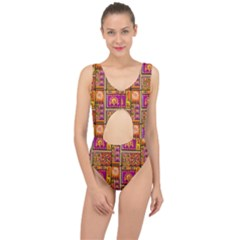 Traditional Africa Border Wallpaper Pattern Colored 3 Center Cut Out Swimsuit