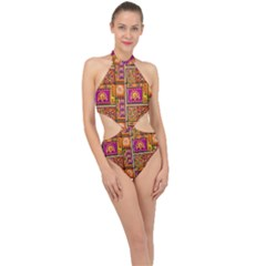 Traditional Africa Border Wallpaper Pattern Colored 3 Halter Side Cut Swimsuit