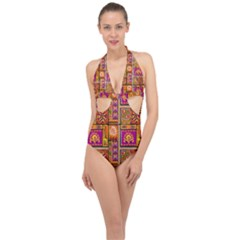 Traditional Africa Border Wallpaper Pattern Colored 3 Halter Front Plunge Swimsuit