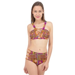 Traditional Africa Border Wallpaper Pattern Colored 3 Cage Up Bikini Set