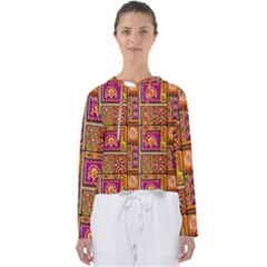 Traditional Africa Border Wallpaper Pattern Colored 3 Women s Slouchy Sweat