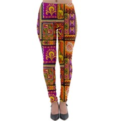 Traditional Africa Border Wallpaper Pattern Colored 3 Lightweight Velour Leggings