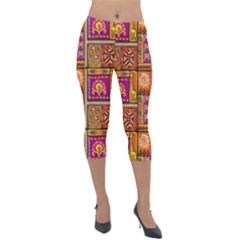 Traditional Africa Border Wallpaper Pattern Colored 3 Lightweight Velour Capri Leggings