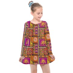 Traditional Africa Border Wallpaper Pattern Colored 3 Kids  Long Sleeve Dress