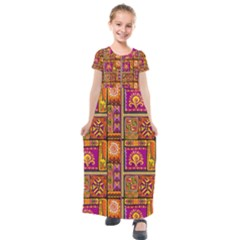 Traditional Africa Border Wallpaper Pattern Colored 3 Kids  Short Sleeve Maxi Dress