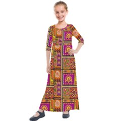 Traditional Africa Border Wallpaper Pattern Colored 3 Kids  Quarter Sleeve Maxi Dress