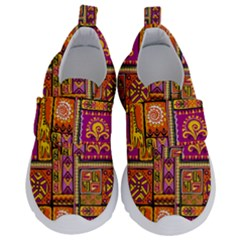 Traditional Africa Border Wallpaper Pattern Colored 3 Velcro Strap Shoes