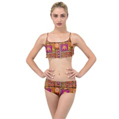 Traditional Africa Border Wallpaper Pattern Colored 3 Layered Top Bikini Set