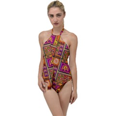 Traditional Africa Border Wallpaper Pattern Colored 3 Go With The Flow One Piece Swimsuit