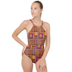 Traditional Africa Border Wallpaper Pattern Colored 3 High Neck One Piece Swimsuit