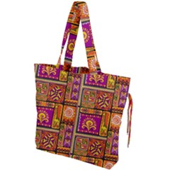 Traditional Africa Border Wallpaper Pattern Colored 3 Drawstring Tote Bag