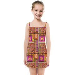 Traditional Africa Border Wallpaper Pattern Colored 3 Kids Summer Sun Dress