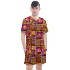 Traditional Africa Border Wallpaper Pattern Colored 3 Men s Mesh Tee And Shorts Set