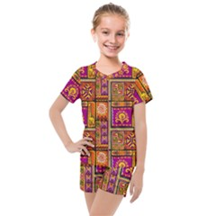 Traditional Africa Border Wallpaper Pattern Colored 3 Kids  Mesh Tee And Shorts Set